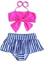 XUNYU Girls Baby Big Bowknot Stripe 2 Pieces Skirt Swimwear Bikini Sets