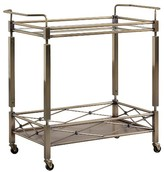 Inspire Q Evelyn Metal + Glass Bar Cart - Antique Brass