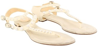 Chanel White Leather Sandals