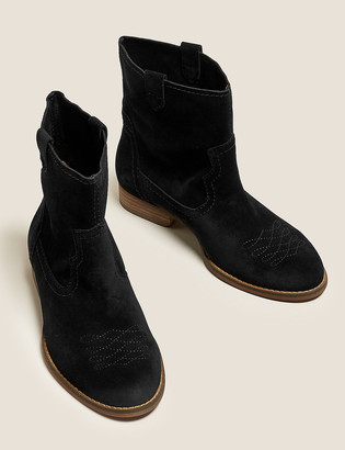 Marks and Spencer Suede Western Block Heel Ankle Boots