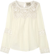 Sea Crochet-trimmed Cotton-gauze Blouse - Cream