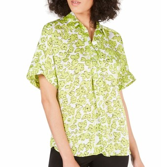 Alfani Womens Satin Floral Blouse Green US XL