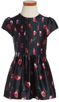 Oscar de la Renta Toddler Girl's 'Painted Poppies' Pintuck Mikado Party Dress