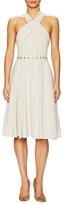 Halston Crepe Embellished Halter Flared Dress