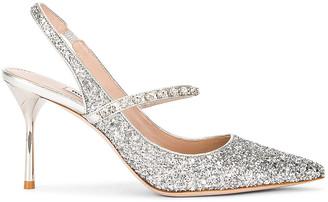 Miu Miu Glitter Rhinestone Slingback Heels in Argento | FWRD