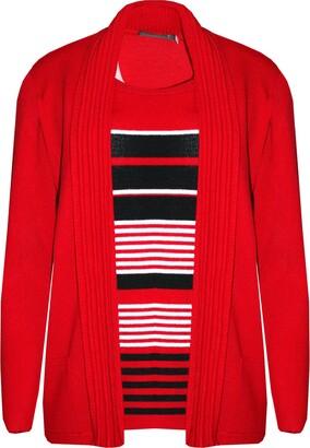 US Patrol Ladies Stripe Knitwear Twinset Women Set 2in1 Full Sleeve Cardigan Top Sweater (L/XL