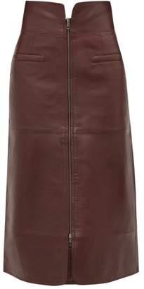Sea Lidia Zipped Leather Midi Skirt - Womens - Burgundy