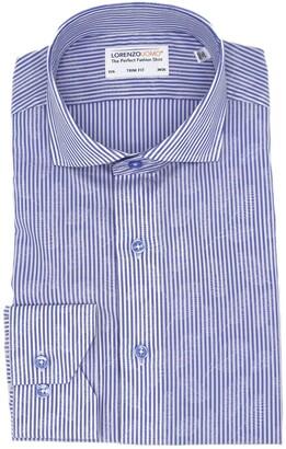 Lorenzo Uomo Jacquard Stripe Easy Iron Trim Fit Dress Shirt