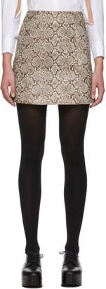 ALEXACHUNG Brown Snake Miniskirt
