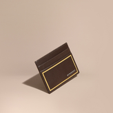 Burberry Border Detail London Leather Card Case, Brown