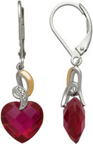 FINE JEWELRY Lab-Created Ruby and Diamond-Accent Heart Drop Earrings