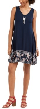 Style&Co. Style & Co Printed-Hem Sleeveless Swing Dress, Created for Macy's