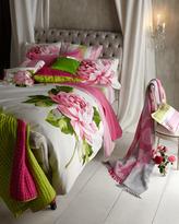 "Designers Guild Queen Fuchsia/Lime Silk Quilt, 91"" x 91"""
