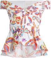 Peter Pilotto Floral-print peplum-hem cotton-blend top