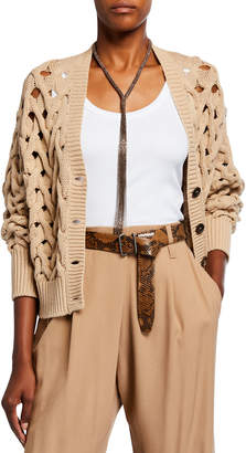 Brunello Cucinelli Twisted Cable-Knit Cardigan