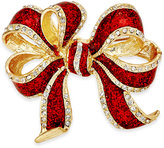 Charter Club Gold-Tone Red Glitter Bow Pin, Only at Macy's
