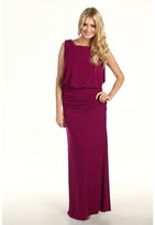 Laundry by Shelli Segal Beaded Blouson Jersey Gown (Red Plum) - Apparel