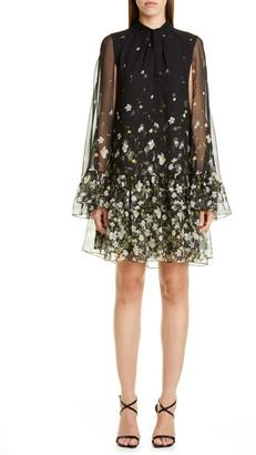 Erdem Floral Flounce Cape Sleeve Shift Dress