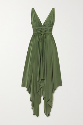 Norma Kamali Goddess Asymmetric Pleated Stretch-jersey Dress - Green