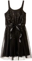 Us Angels Sequin Tank Sheath Dress w/ Netting Overlay (Big Kids)