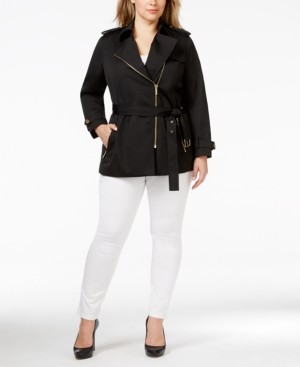 Michael Kors Michael Plus Size Asymmetrical Zip-Front Trench Coat