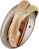 Cartier Estate Constellation 18k Triple-Band Ring w/ Diamonds, Size 5.5