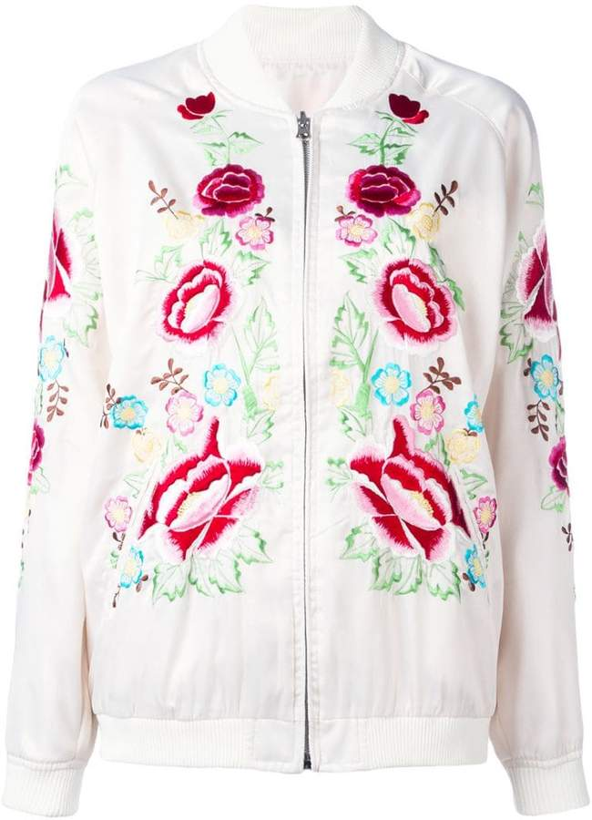 P.A.R.O.S.H. rose embroidered bomber jacket