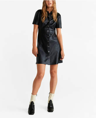 MANGO Faux Leather Shirt Dress