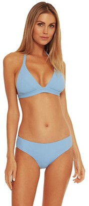 Becca by Rebecca Virtue Fine Line Lara Rib Halter Top (Sky Blue) Women's Swimwear