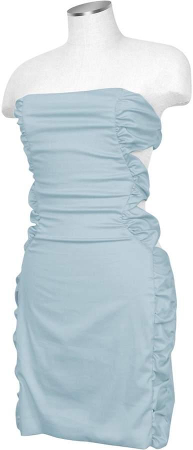Hafize Ozbudak Light Blue Cut-out Back Strapless Mini Cotton Dress