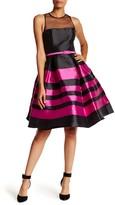 Mac Duggal Sleeveless Striped Waist Belt Dress
