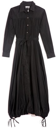 Co Taffeta Drawstring Hem Shirt Dress in Black