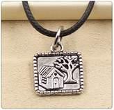 Nobrand No brand Fashion Tibetan Silver Pendant tree house Necklace Choker Charm Black Leather Cord Handmade Jewlery