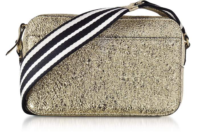 RED Valentino Platinum Crackled Metallic Leather Crossbody Bag w/Striped Canvas Strap