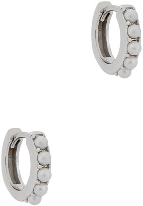 Olivia Burton Huggie Faux Pearl-embellished Hoop Earrings
