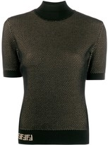 Fendi double-layer mesh-knit top