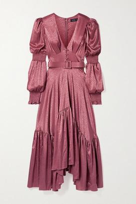 PatBO Belted Asymmetric Satin-jacquard Dress - Pink