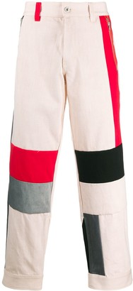 Diesel Red Tag Colour-Block Wide Leg Trousers