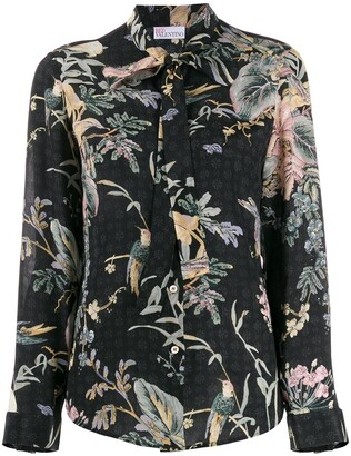 RED Valentino floral bird print top