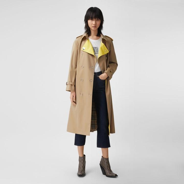 Burberry Colour Block Cotton Gabardine Trench Coat