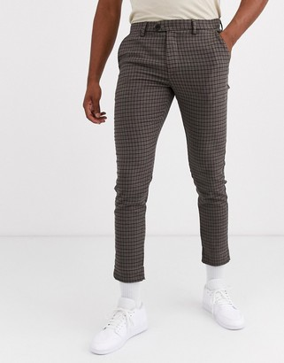 Jack and Jones slim fit stretch check trousers in brown