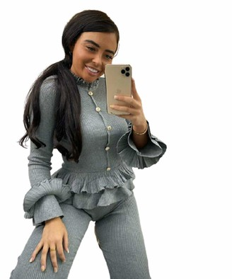 Highland Fashion Frill Peplum Gold Button Fine Knit Rib Jumper Two Piece LoungeWear Tracksuit Set Sports & Outdoor Clothing Women Tracksuit Sportswear (Grey 14)