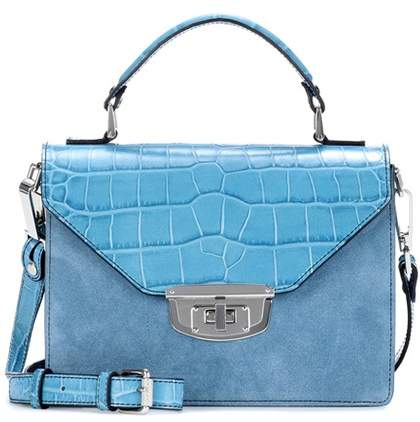 Ganni Exclusive to mytheresa.com – Gallery embossed leather and suede shoulder bag