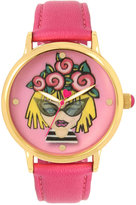 Betsey Johnson Women's Pink Leather Strap Watch 42mm BJ00496-53