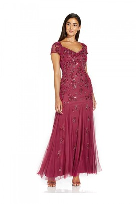 Adrianna Papell Beaded Covered Gown In Dusty Rouge