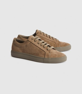 Reiss Luca - Nubuck Leather Trainers in Taupe