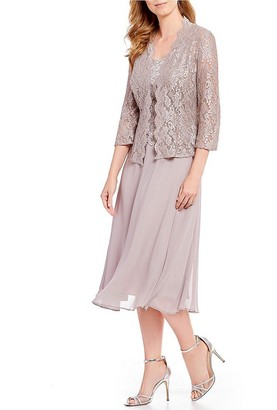 Alex Evenings Women's Tea Length Mock Jacket Dress (Petite and Regular Sizes)