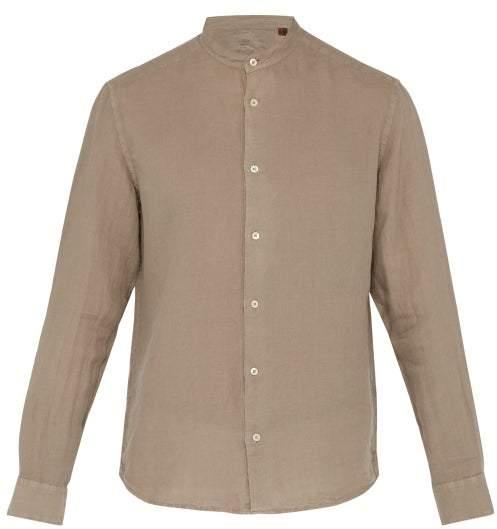 Altea Band Collar Linen Shirt - Mens - Light Brown