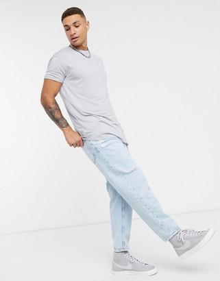 Topman longline t-shirt in gray