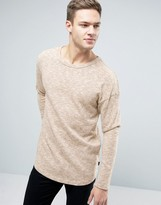 Jack & Jones Originals Longline Knitted Jumper With Curved Hem In Mixed Yarn